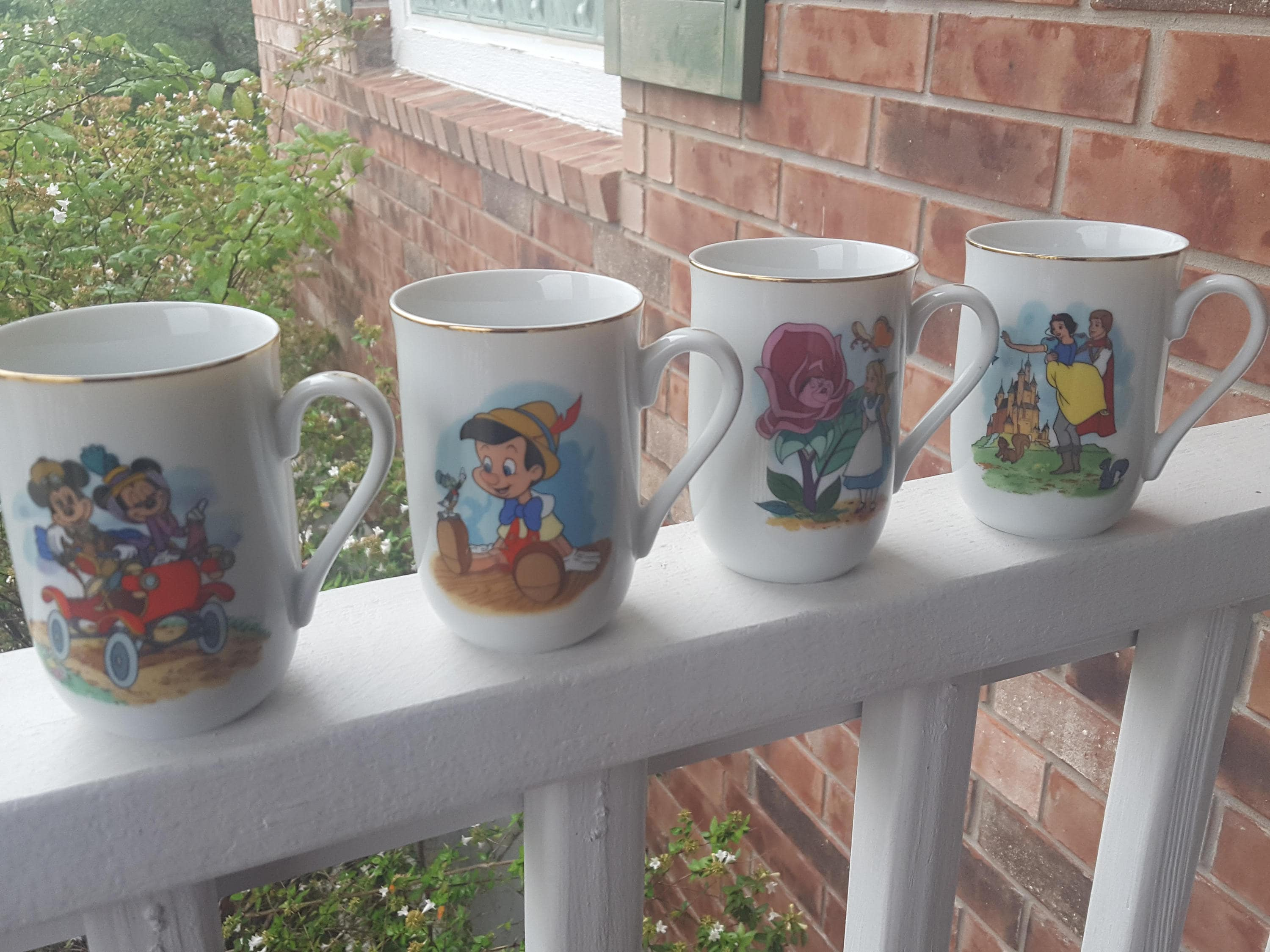 Disney Cups Vintage Disney Classic Mugs Collection Mickey Mouse Mug Walt Disney Productions Mickey Pinocchio Snow White Alice