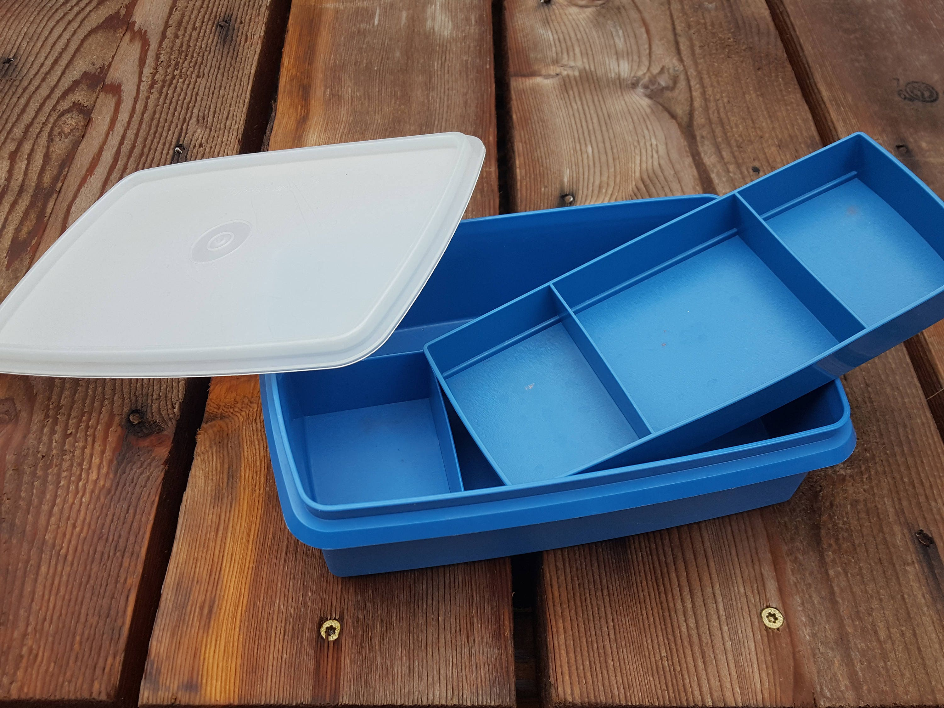 Vintage Blue Tupperware Container Craft Box Sewing Case
