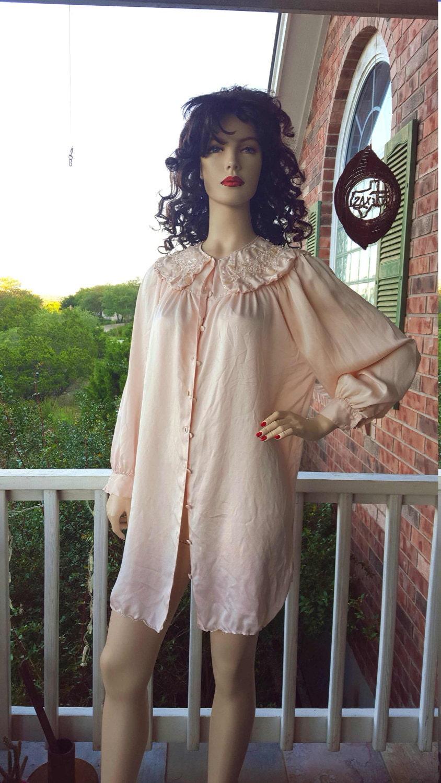 Vintage Victoria\'s Secret / Pink Button Down Gown / Beaded Bib ...