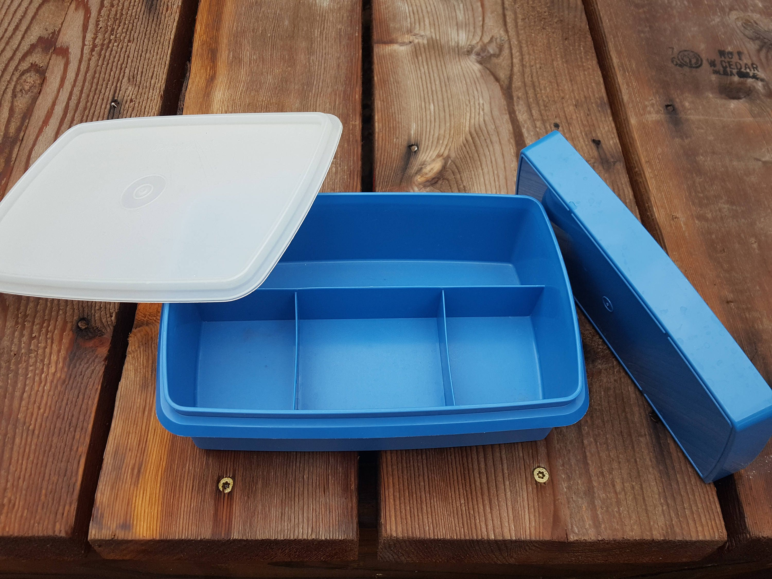 Vintage Blue Tupperware Container Craft Box Sewing Case Storage Container Camping Case Jewelry Making Storage Box
