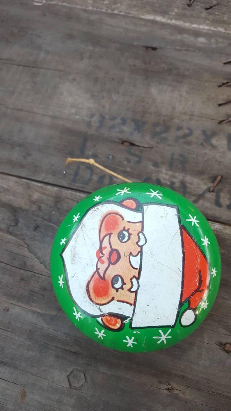 Vintage Santa Claus Tin Yo Yo  Original String Yo Yo  Christmas Memorabilia  Home Decor  Gift Ideas  Craft Supplies