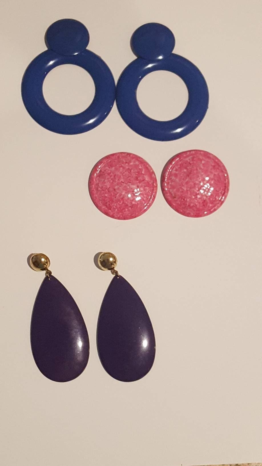 Vintage Earrings / Set of 3 Pairs / Blue / Pink / Purple / Vintage Jewelry  / Dangle / Hoop / Round Jewelry