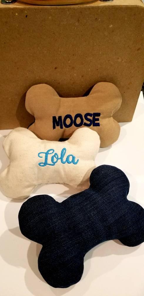 d17440e558dc Personalized Dog Bone / Mini Dog Pillow / Gift For Pet / Denim ...