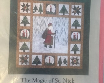 The Magic of St. Nick ~62 inch square Wall hanging Applique Pattern.