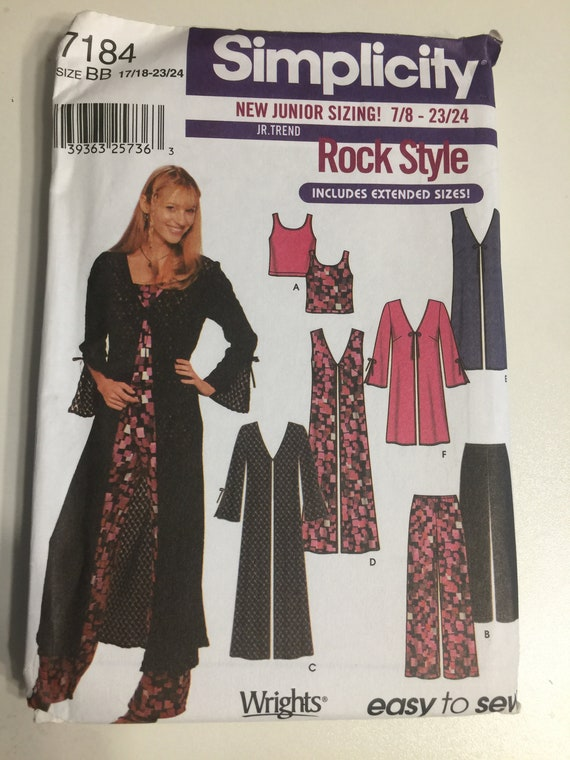 Simplicity 3811 Girls Knit Dress Top Pants Sewing Pattern Size 8-16