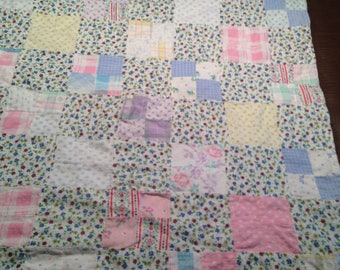 FLANNEL Handmade Baby Quilt 42 x 35 inches