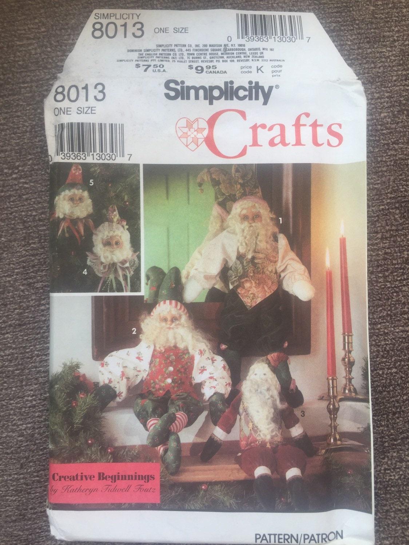 Tiny House Prix M2 victorian christmas pattern rare. simplicity crafts 8013. santa elves elf  christmas tree trimmers. katheryn tidwell foutz. vintage uncut!