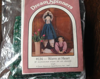 "Warm at Heart #134 KIT  28"" doorknob/draft stopper doll - adjustable"