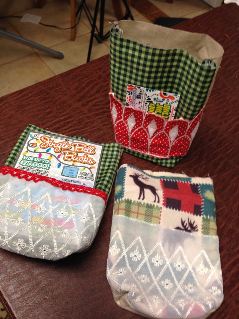 black bear 3 Christmas Cookie Holiday Fabric GIFT BAGS Lottery Gift Photo Pouch reindeer moose Country green check