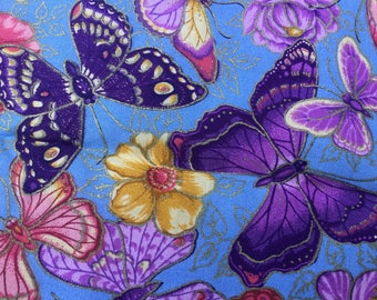 BUTTERFLY Assortment, FLOWERS on Blue Background fabric yardage 36 x 36 inches