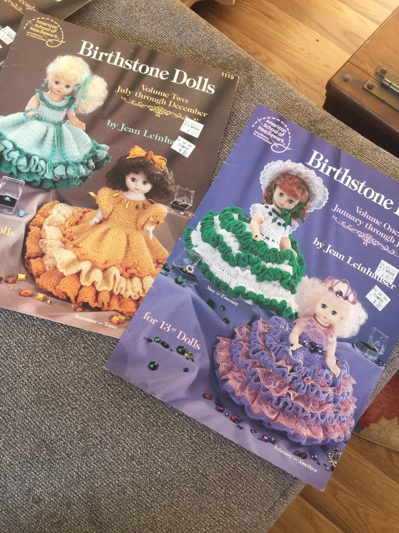 BIRTHSTONE DOLLS Vol 1 Vol 2 Crochet Patterns for 13 inch Doll Bodies Color Leaflets c1992 Free Shipping too!