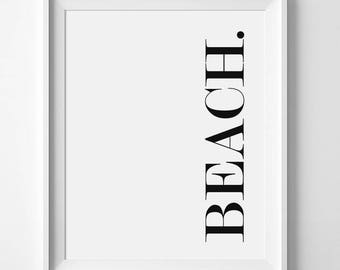 Beach Word Art, Minimalist Print, Simple Quote, Minimalist Typography, Beach Quotes, Gallery Wall, Beach Signs, Beach Print, Black And White