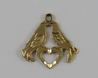 Love Birds 10K Gold Vintage Charm For Bracelet