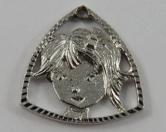 Girl Sterling Silver Vintage Charm For Bracelet