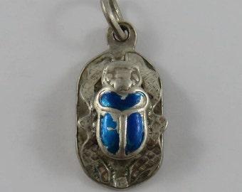 Enamel Scarab Beetle Sterling Silver Vintage Charm For Bracelet