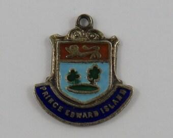 Prince Edward Island Enamel Travel Shield Sterling Silver Vintage Charm For Bracelet