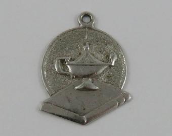 Lamp of Knowledge Sterling Silver Vintage Charm For Bracelet