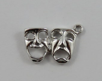Comedy & Tragedy Masks Sterling Silver Vintage Charm For Bracelet