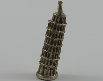 Leaning Tower of Pisa Silver Vintage Charm For Bracelet