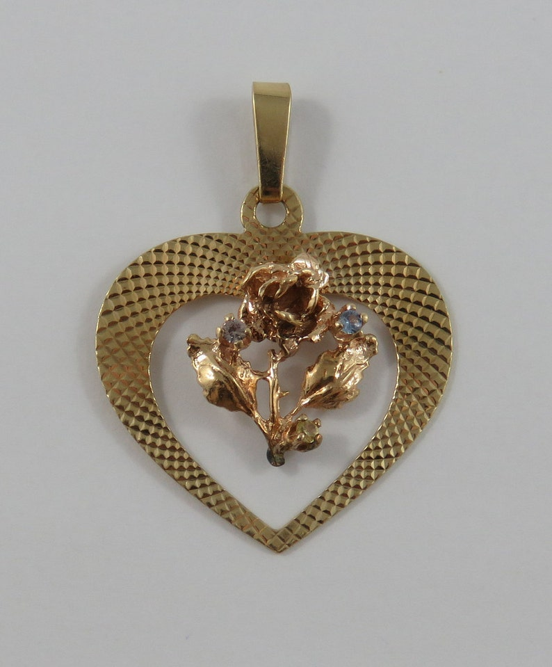 Rose Inside a Heart With Two Blue Stones 10K Gold Vintage Charm For Bracelet