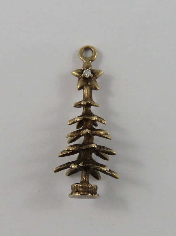Christmas Tree With Colourful Stones /& Star on Top 10K Gold Vintage Charm For Bracelet