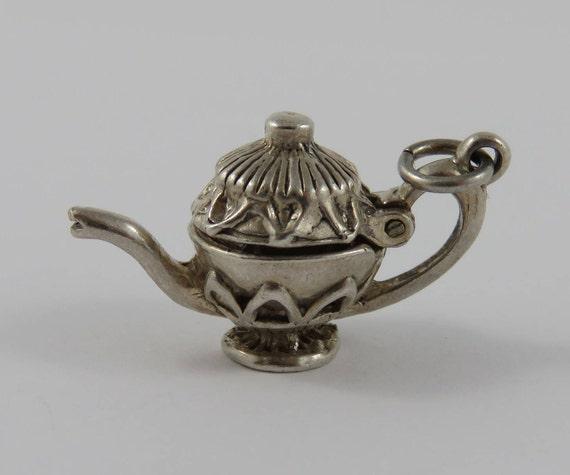 Teapot Mechanical Sterling Silver Vintage Charm For Bracelet