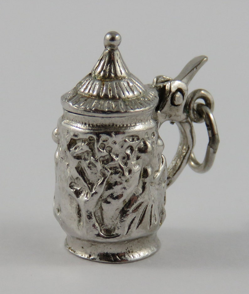 Beer Stein With People Dancing Mechanical Sterling Silver Vintage Charm For Bracelet