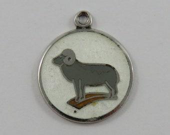 Enamel Ram Sterling Silver Vintage Charm For Bracelet