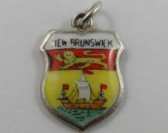 New Brunswick Enamel Travel Shield Sterling Silver Vintage Charm For Bracelet