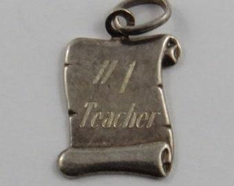 Number 1 Teacher Sterling Silver Vintage Charm For Bracelet