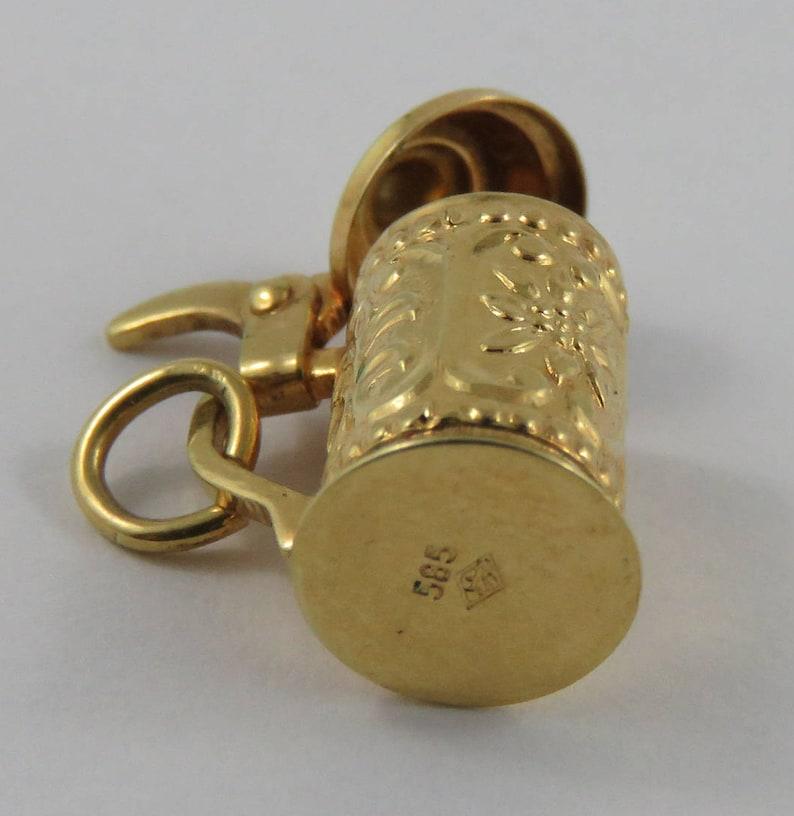 Beer Stein Mechanical 14K Gold Vintage Charm For Bracelet