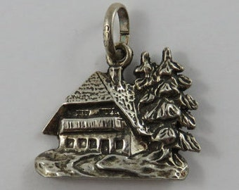 Chalet With Large Evergreen Trees Silver Vintage Charm For Bracelet