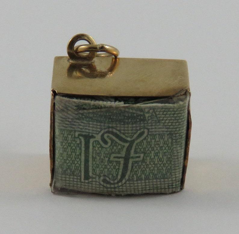 Break Glass in Case of Emergency Money Box With 1 Euro Inside 9K Gold Vintage Charm For Bracelet Emergency Funds