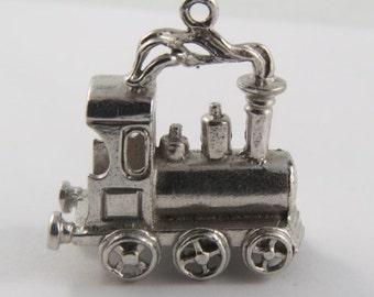 Old Fashioned Locomotive With Steam Sterling Silver Vintage Charm For Bracelet