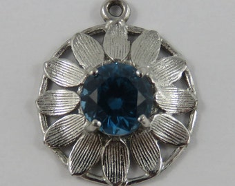 Blue Stone Flower Sterling Silver Vintage Charm For Bracelet