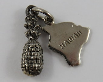Pineapple With Hawaii Tag Sterling Silver Vintage Charm For Bracelet