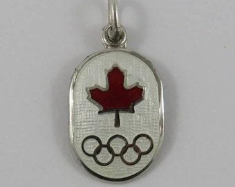 Enamel Canada Olympics Sterling Silver Vintage Charm For Bracelet