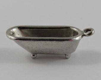 Claw-Foot Bathtub Sterling Silver Vintage Charm For Bracelet