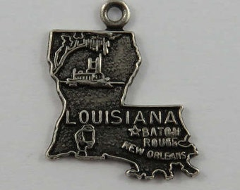 Map of Louisiana State Sterling Silver Vintage Charm For Bracelet