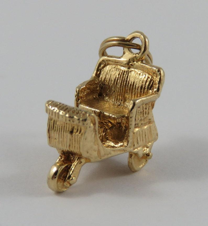 Boardwalk Push Cart 14 Karat Gold Vintage Charm For Bracelet