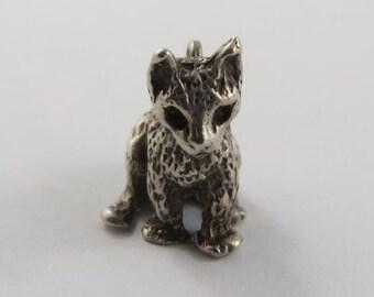 Sitting Cat Sterling Silver Vintage Charm For Bracelet