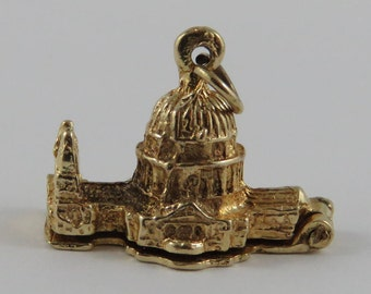St. Paul's Cathedral Mechanical 9K Gold Vintage Charm For Bracelet