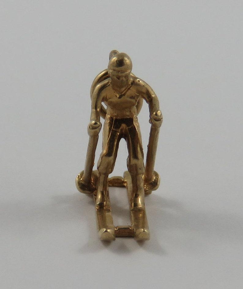 Skier 10K Gold Vintage Charm For Bracelet