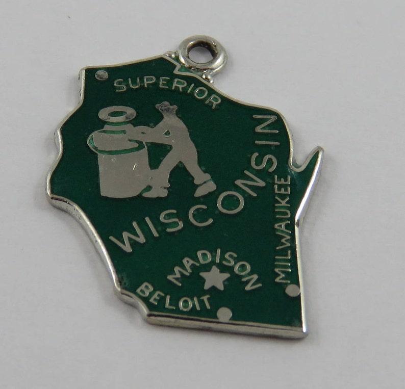 Green Enamel Map of Wisconsin State Badger State Sterling Silver Vintage Charm For Bracelet