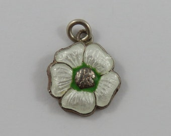 Enamel Flower Sterling Silver Vintage Charm For Bracelet