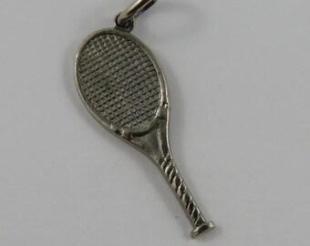 Tennis Racket Sterling Silver Vintage Charm For Bracelet