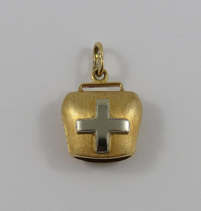 Ringing Bell With White Gold Cross Mechanical 18K Gold Vintage Charm For Bracelet
