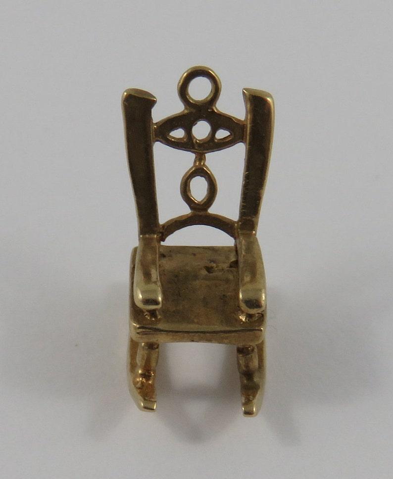 Rocking Chair 10K Gold Vintage Charm For Bracelet