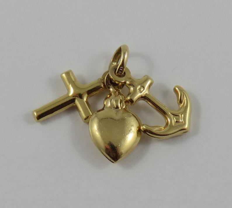 Hope Charity 14K Gold Vintage Charm For Bracelet Faith