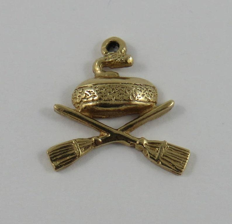 Curling Stone /& Brooms 10K Gold Vintage Charm For Bracelet